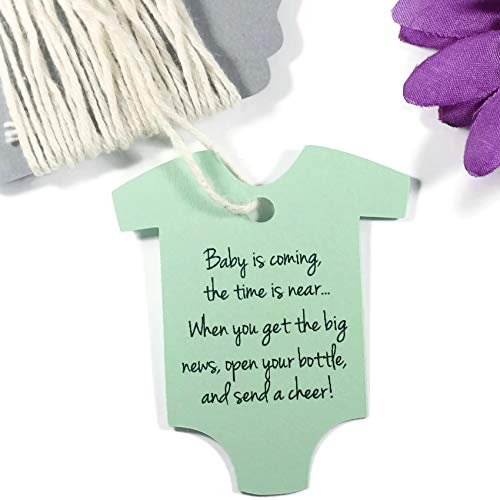 - Baby is Coming Shower Favor Tags - Light Green One Piece Shaped Gift Tags (Set of 20)