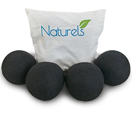 Naturels Black Wool Dryer Balls - Natural Merino Wool Balls For Dark Laundry Loads! 4 Pack in a Quality Cotton Bag. Reduces Drying Time, Static, Bunching and Wrinkles! (Wool Dinner)