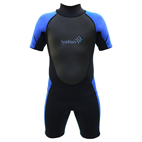 Ivation 3mm Short Wetsuit for Kids - Crafted of Premium Neoprene & Features High- Quality Zipper & Full UV Protection