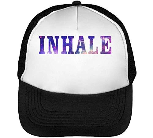 Inhale Cosmic Coloured Slogan Gorras Hombre Snapback Beisbol Negro Blanco