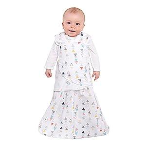 Halo - Sleepsack 3-way Adjustable Baby Swaddle, 100% Cotton - Neutral Triangles, Newborn