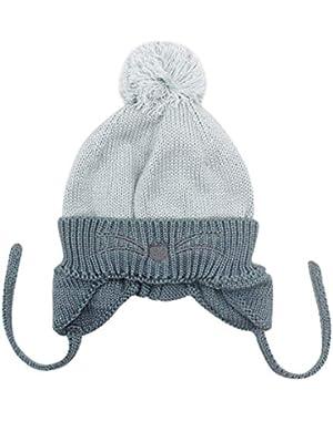 Baby Girls Boys Toddler Winter Earflap Beanie Pompom Knit Hats