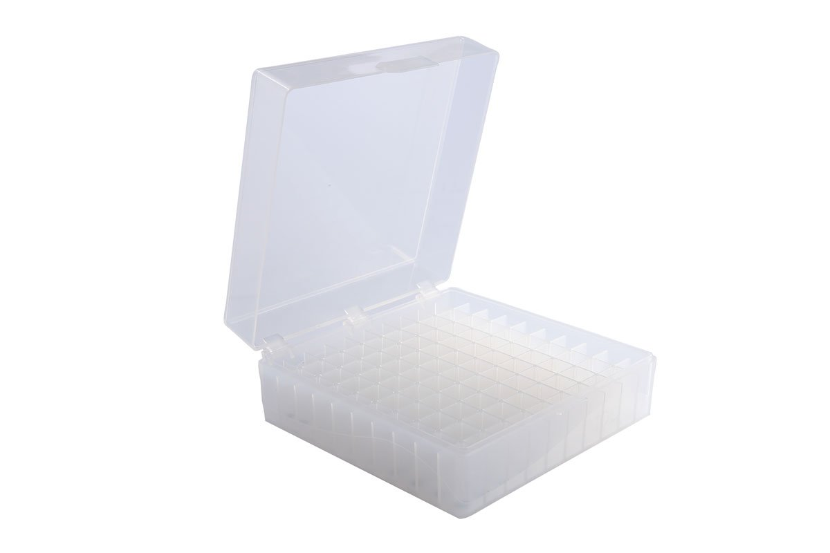 Heathrow Scientific HS120033 100 Well Microtube Storage Box, Cryogenic Box, Tube Storage, 1.5mL/2.0mL Tubes,Polypropylene, Natural, (5/pk) by Heathrow Scientific