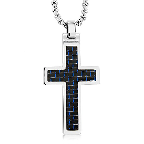 Black & Blue Carbon Fiber Tungsten Carbide Cross Pendant ON 3MM Stainless Steel Box Chain Necklace