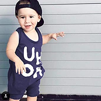 Toddler Kids Baby Boy Girl Sleeveless Letters Print Halter Romper Jumpsuit Casual Playsuit Summer Outfit