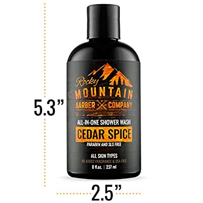 All-in-One Shower Wash for Men – Shampoo, Body Wash, Conditioner, Face Wash & Beard Wash – Natural Ingredients with Essential Oils – Paraben, SLS & DEA Free – Cedar Spice Scent – 8oz from Rocky Mountain Barber Company