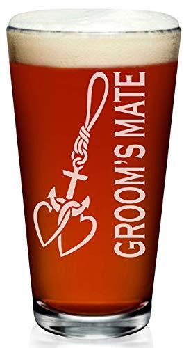(Groom's Mate Pint Glass, Ship Anchor, Nautical Wedding Theme, Groomsman, First Mate)