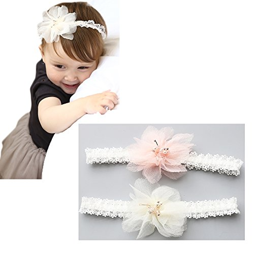 Baby Pink Bow - Xinshi Baby Girl Soft Headband Big Flower Petals Newborn Hair Band with Bow (White and Pink(2pcs))