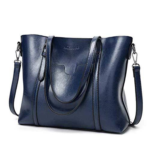 (Women bag Oil wax Women's Leather Handbags Luxury Lady Hand Bags With Purse Pocket Women messenger bag Big Tote Sac Bols,dark blue)