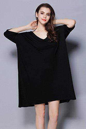 3 De Acmede Manche Taille 4 Robe Modal Nuit Loose Femme Courte Chemise Noir qUArUE8