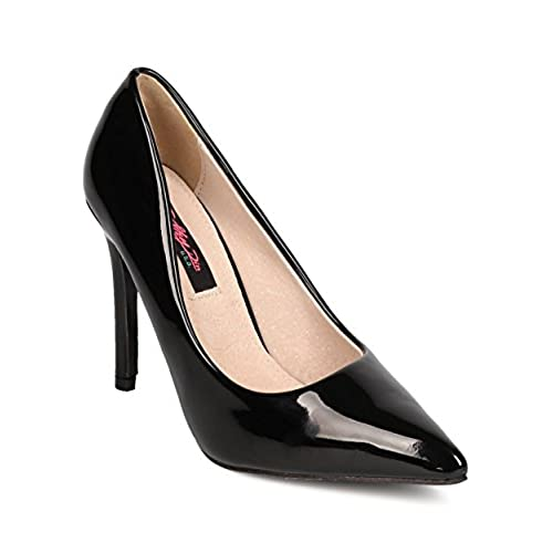 top Women Patent Leatherette Pointy Toe Single Sole Stiletto Pump FF47 - Black save more