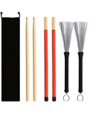 NABLUE Drum Sticks Brush Set - 1 Pair 5A Maple Wood Drum Sticks 1 Pair Drum Wire Brushes Retractable Drum Stick Brush and 1 Pair Rods Drum Sticks with Storage Bag for Jazz Acoustic Music Lover Gift