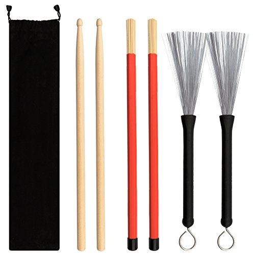 Petift Drum Sticks Set,1 Pair 5A Maple Wood Drum Sticks,1 Pair Retractable Drum Wire Brushes and 1 Pair Rods Drum Brushes set for Kids, Adults, Rock Band, Jazz Folk Students with Portable Storage Bag