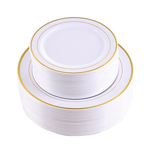 102 Pieces Gold Plastic Plates, White Party Plates, Premium Heavyweight Disposable Wedding Plates Includes: 51 Dinner Plates 10.25 Inch and 51 Salad / Dessert Plates 7.5 Inch -