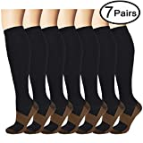 Copper Compression Socks (7 Pairs) for Men & Women -...