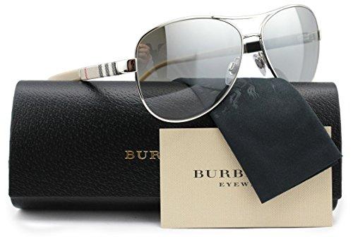 Burberry BE3080 Aviator Sunglasses Shiny Silver w/Silver Mirror (1005/6V) B 3080 10056V 59mm - Burberry B