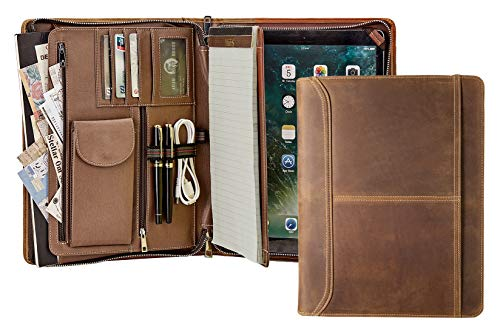 AZXCG Handmade Padfolio for iPad Pro 12.9 (2018), Crazy-Horse Leather Portfolio with Zipper, Multi-Function Business case with Letter Size/A4 Size Notepad Holder