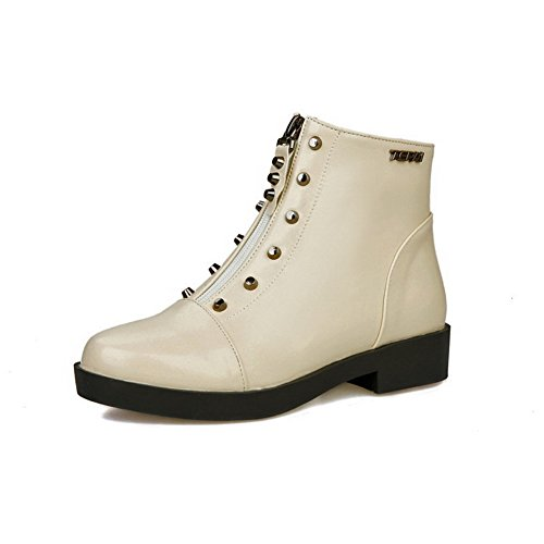 AmoonyFashion Womens Solid Pu Low Heels Zipper Round Closed Toe Boots Beige 9zFpJbsm