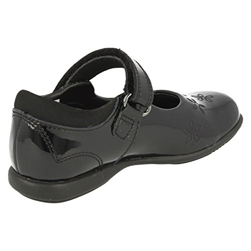 Clarks Breena Toes Girls Infant School Shoes In Black Leather and Patent