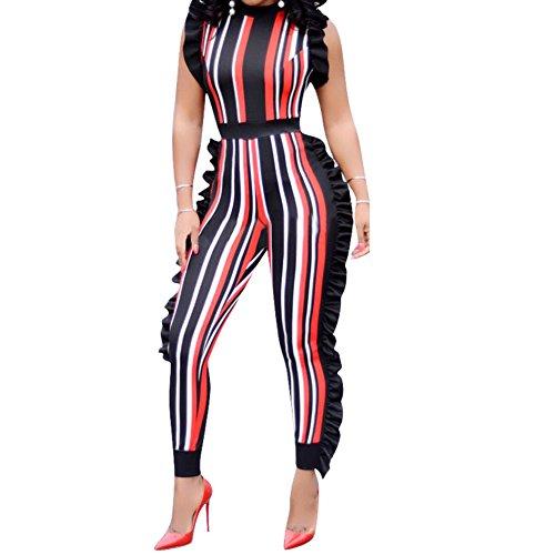(Uni Clau Women's Sleeveless Stripe Ruffle Bodycon Long Pants High Waist Party Jumpsuits Romper Plus Size Orange Large)