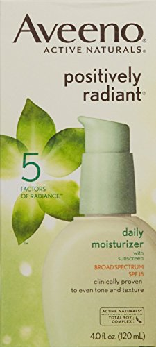 - Aveeno Positively Radiant Skin Daily Moisturizer SPF 15, 4 Ounce Pack of 6