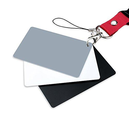 Photograph Grey Card 18% Exposure White Balance Card for Photography, Video, DSLR and Film Premium Exposure Card Set, Black White -
