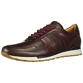 MARC JOSEPH NEW YORK Men's Leather Made in Brazil Luxury Fashion Trainer Sneaker, Wine Nappa, 7 M US