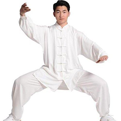 Tai Chi Uniform luxurious Korean Cotton Silk stretch TaiChi suits Traditional Tai Chi Clothing for your Tai Chi Exercise (White, XX-Large)