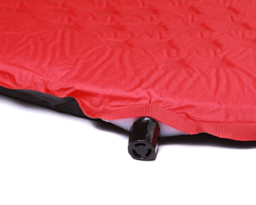 "Lightweight Self Inflating Sleeping Pad - Compact for Backpacking, Camping, Hiking, Hammocks! 5 SLEEP ON THE MOST COMFORTABLE SLEEPING PAD - Our rapid rise open cell foam design keeps our self inflating sleeping pad ultra light weight while providing comfortable support! With a perfect thickness of 1.5"" our pad protects you from the cold and uncomfortable ground but is still compact when not inflated for hiking, camping, and traveling. SELF INFLATING & FITS ALL - With our self inflating technology you don't need to spend time blowing up your own sleeping pad! Our valves provide a rapid inflation and deflation so you can set up your camp quickly! You are able to control the exact firmness of the pad by blowing more air into the valve. We carry two sizes so everyone can enjoy a comfortable sleep while camping, trekking or backpacking! See our dimensions in the product description. CARRY BAG & PATCH KIT - Our sleeping pads come with a storage bag, which makes traveling with your pad SUPER EASY. We also include an emergency patch kit incase anything happens in the backcountry! Feel comfortable knowing you'll be able to patch your pad on the go."