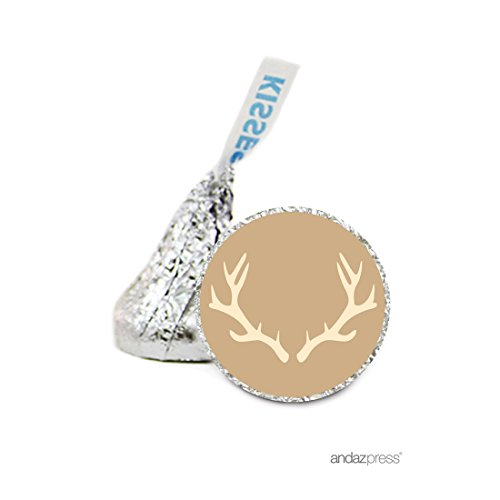 Andaz Press Chocolate Drop Labels Stickers, Wedding, Deer Antlers 216-Pack, For Hershey's Kisses Party Favors, Gifts, Decorations, Fall Autumn Woodland Western Themed Party Supplies, Invitation Seals