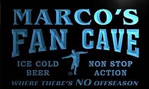 th363-b Marco's Football Fan Cave Man Room Bar Beer Neon Light Sign