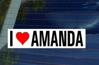 (I Love Heart AMANDA - Sticker Graphic - Personalized Sticker Custom Sticker Street Sign Graphic )