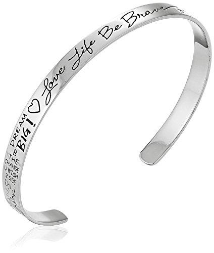 "Sterling Silver ""Love Life Be Brave"" Cuff Bracelet, 6″"