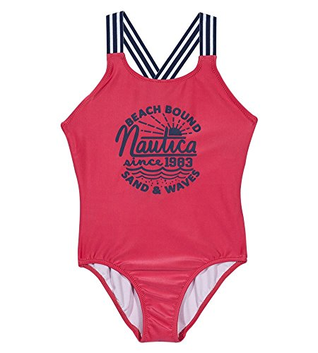 Nautica Girls' One Piece Swimsuit, Medium Pink Sands, 5