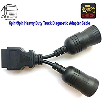 OTKEFDI OBD 6Pin+9Pin J1708+J1939 Cable,Heavy Duty Diesel Truck Diagnostic Adapter for Multi-Diagnostic Scanners Devices