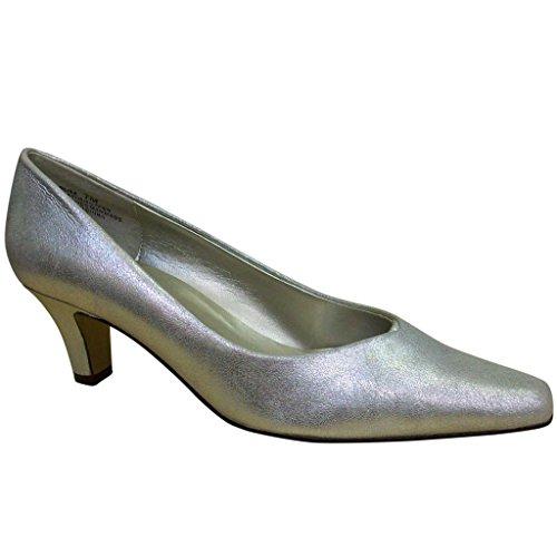 Bellini Women's Elise Matte Silver Comfortable Low Heel Leather Pumps 7