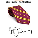 Skeleteen Wizard Glasses and Tie - Maroon and