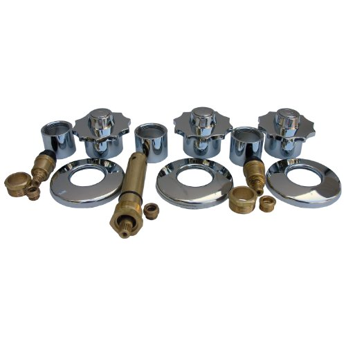 LASCO 01-9405 American Standard Heritage Series Three Valve Tub and Shower  Trim Kit with Stems Handles, Flanges and Nipples, Chrome