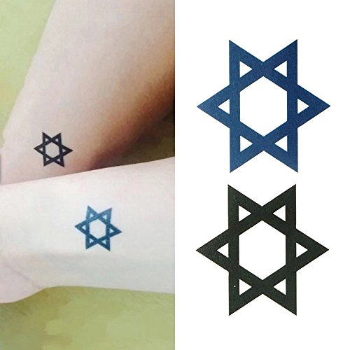 Amazon.com : Oottati Small Cute Temporary Tattoo Cervical Hexagon (Set of 2) : Beauty