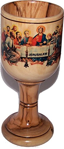 Large Communion Wine Goblet with imprinted Last supper by Laser Technology - Colored - Chalice Olive Wood (6 Inches Large) - Asfour Outlet Trademark