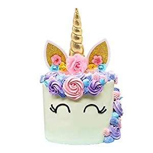 Unicorn Cake Topper and Unicorn Cupcake Toppers Wrappers Set Handmade Gold Unicorn Horn Ears and Flowers Cake Decor for…