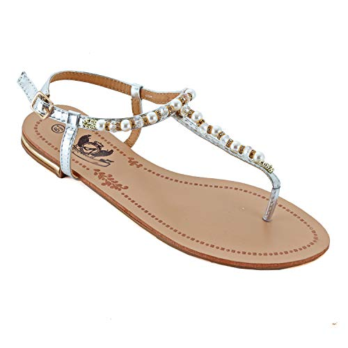 (Guilty Heart - Womens Sparkle Rhinestone Sling Back Summer Casual Flat Thong Sandal (9 M US, Silverv1 Pu))