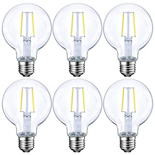 Dimmable LED Edison Light Bulb, G25 Globe Shape, Clear Glass, 40 Watt Equivalent, 2700K Soft White, E26 Standard Base, UL Listed, 6-Pack