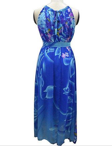 PU&PU Robe Aux femmes Ample Grandes Tailles / Décontracté / Plage Licou Midi Spandex / Autres , blue-l , blue-l