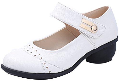 Abby 6822 Womens Komfort Sommar Frisk Stängd Rund Tå Mary Jane Andas Blocket Hälen Modern Squre Dans Sneakers Vit
