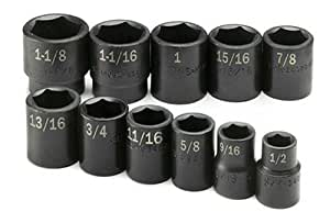 SK 4032 1/2-Inch Drive 6 Point Standard Fractional High Visibility Impact Socket Set 11 Piece