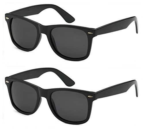Classic Adult Eyewear 53mm POLARIZED Caminantes Wayfarers Sunglasses (2 Pack Black, - 2 Sunglasses Wayfarer