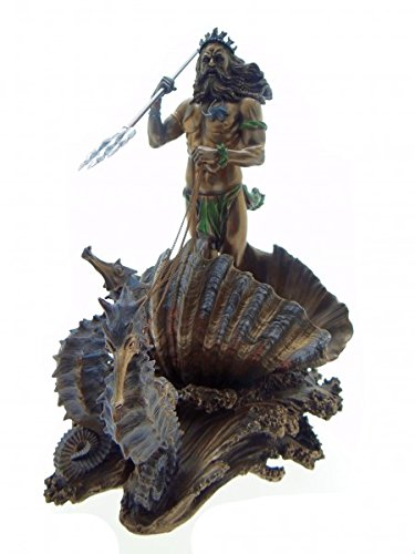 Unbekannt Poseidon Dios del Mar En Mar Carruaje con Caballito de mar Bronce  Figura Escultura 2cb3aa27339f