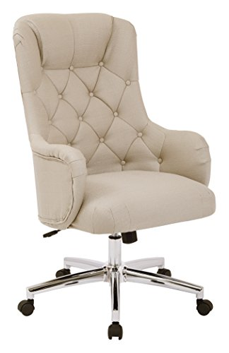 AVE SIX Ariel Tufted High Back Desk Chair with Wraparound Arms and Chrome Base, Klein Mouse