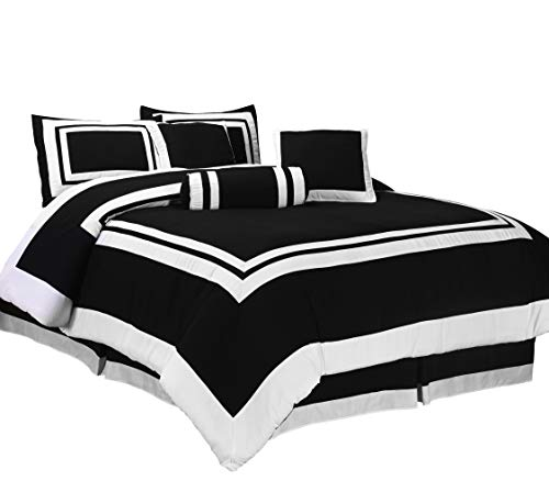 Chezmoi gallery 7 Pieces Caprice Black White Square Pattern Hotel Bedding Comforter Set Queen Black White